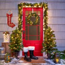 Pre-Lit Entryway Christmas Scene, 6-Piece