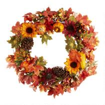 Artificial Sunflower Pumpkin Wreath