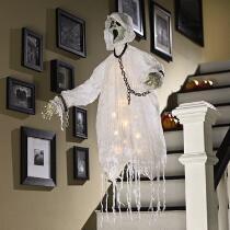 Lighted Skeleton Ghost Hanger