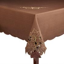 Cutwork Leaves Brown Tablecloth