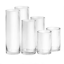 Thick-Walled Glass Round Vases, Set of 2