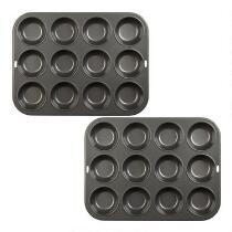 12-Cup Metal Muffin Pans, Set of 2