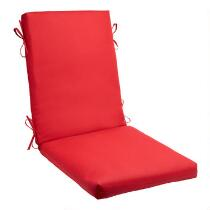 Solid Red Indoor/Outdoor Hinged Chair Pad