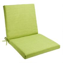 Solid Green Indoor/Outdoor Mid-Back Chair Pad