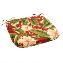 Red Palm Indoor/Outdoor Squared Seat Pad