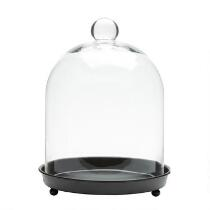 "10.5"" Glass Cloche with Footed Black Base"