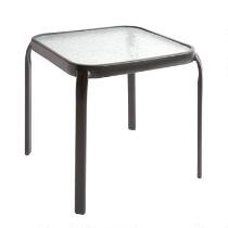 "16"" Square Glass Outdoor Side Table"