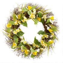 """22"""" White Daffodil Twig Wreath"""