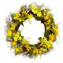 """22"""" Yellow Daffodil Twig Wreath"""