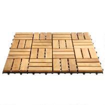 """12"""" Square Teak Flooring Tiles, 10-Pack"""