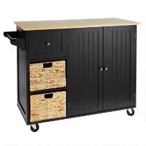 Rolling Kitchen Island with Baskets