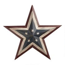 Painted Americana Wood Star Wall Decor