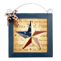 Patriotic Star Plaque Framed Wall Hanger