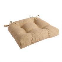Solid Beige Indoor/Outdoor Single-U Seat Pad