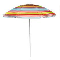 7' Orange/Blue/Yellow Striped Tilt Beach Umbrella