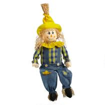 "33"" Sitting Boy Scarecrows Decor, Set of 2"