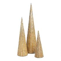 Golden Cone Trees with Jewel Embellishment, Set of 3