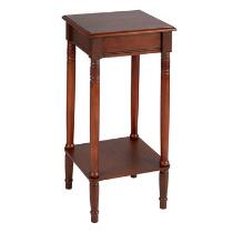 Dark Cherry Wood Square Accent Table