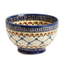 Polish Pottery Patterned Florals Small Footed Serving Bowl