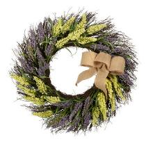 "21"" Yellow/Purple Burlap Bow Wreath"