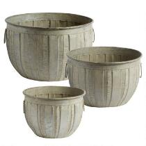 Gray Ribbed Weathered Belly Metal Planter