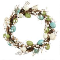 "19"" Teal Pussy Willow Egg Wreath"