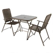 Roma Resin Wicker Folding Bistro Set, 3-Piece