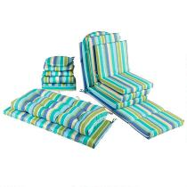Green/Blue Striped All-Weather Seat Cushions Collection