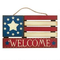 "15.5"" American Flag ""Welcome"" Wood Wall Hanger"