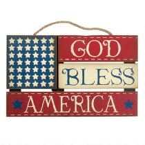 "15.5"" ""God Bless"" American Flag Wood Wall Hanger"