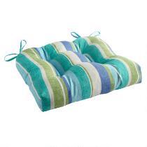 Green/Blue Striped Indoor/Outdoor Single-U Seat Pad