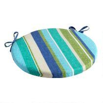 Green/Blue Striped Indoor/Outdoor Round Bistro Seat Pad