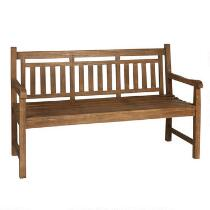 Teak Wood Slatted-Back Bench