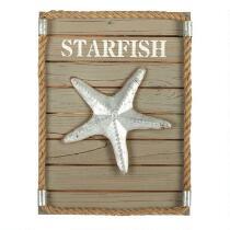 "12""x16"" Starfish Wooden Wall Decor"