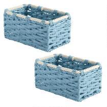"""10"""" Coastal Paperweave Rectangular Baskets, Set of 2"""