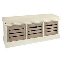Alden Ivory 3-Shutter Washed Wood Bench