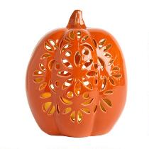 Ceramic Lighted Pumpkin Lantern