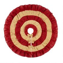 Red/Tan Two-Tone Ruffle Tree Skirt