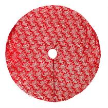 Red Velvet Foil Print Christmas Tree Skirt
