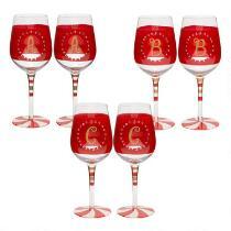 Hand-Painted Monogram Peppermint Wine Glasses, Set of 2