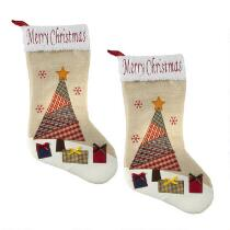 """""""Merry Christmas"""" Stockings with Sherpa Cuff, Set of 2"""