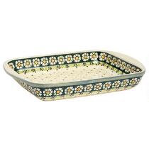 Polish Pottery Dotted Flowers Large Serving Dish