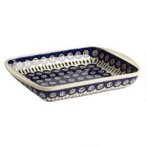 Polish Pottery Peacock Feathers Large Rectangular Serving Dish