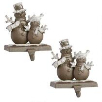Double Snowmen Metal Stocking Holders, Set of 2
