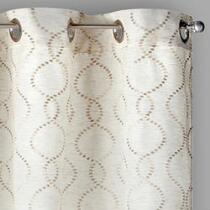 Dot Swirl Embroidered Faux Linen Window Curtains, Set of 2