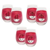Pink Bedazzled Monogram Stemless Wine Glasses, Set of 2
