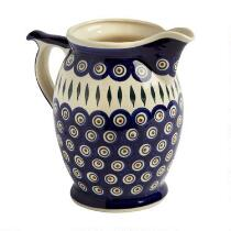 Polish Pottery Peacock Feathers 3-Liter Drink Pitcher