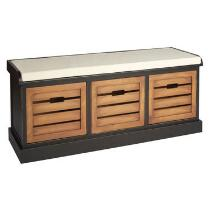 Alden Black 3-Bin Shutter Storage Bench