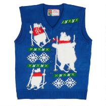 Skiing Polar Bear Ugly Holiday Sweater Vest