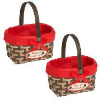 """""""Happy Holidays"""" Woven Gift Baskets, Set of 2"""